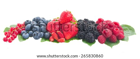 boder of fresh  berries with green,  leaves  isolated on white background - stock photo
