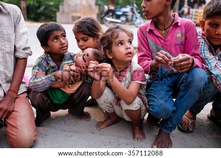 Bodh gaya, Bihar, India . 20 Oct 2015. A group of young children , waiting the tourist to give them money. - stock photo