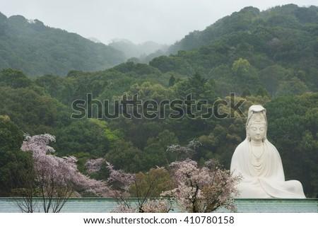 Bodhisattva Avalokitesvara (Kannon) at Ryozen Kannon in Kyoto, Japan - stock photo