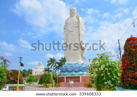 bodhisattva statue at Vinh Trang pagoda, My Tho, Vietnam