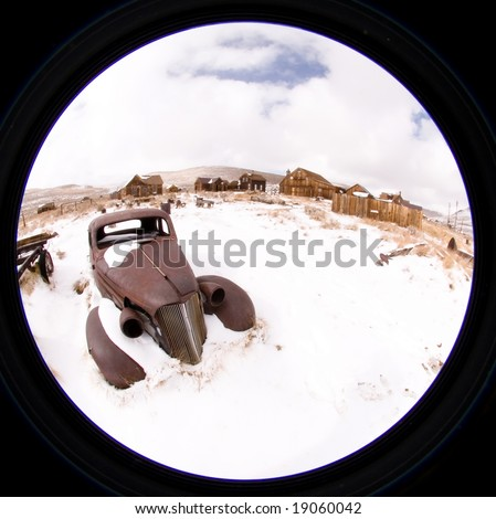 Bodie, a ghost town on the eastern slope of the Sierra Nevada mountain range in Mono County, California - stock photo