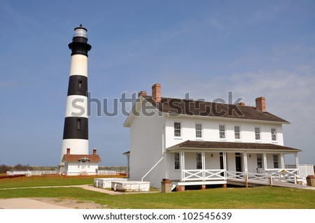Bodie Island Lighthouse and keeper's quarters in Cape Hatteras National Seashore, south of Nags Head, North Carolina, USA