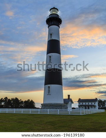 Bodie Lighthouse at sunset. - stock photo