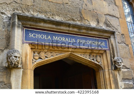 Bodleian Library school of philosophy entrance - stock photo