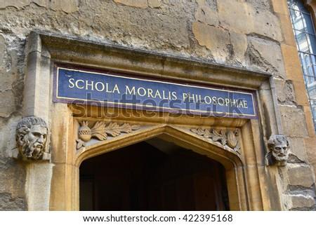 Bodleian Library school of philosophy entrance - stock photo