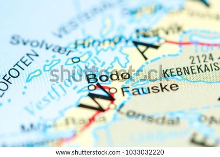 Bodo Norway On Map Stock Photo 1033032220 Shutterstock