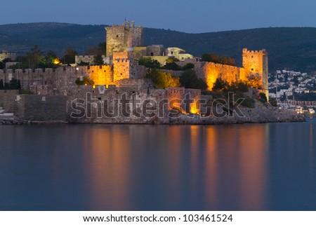 Bodrum Castle from Mugla, Turkey - stock photo