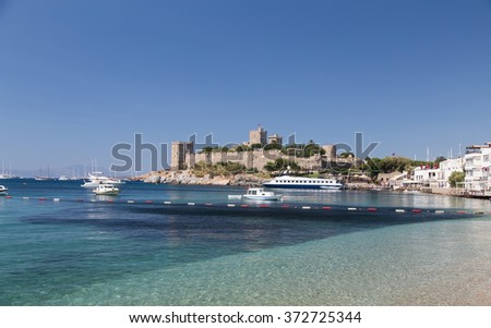 Bodrum Castle in Aegean Coast of Turkey - stock photo