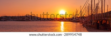 Bodrum marina at sunset Turkey panorama - stock photo