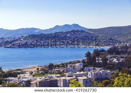 Bodrum, Turkey - May 10, 2016 - Sunset view of Bodrum town located on the Aegean coatline of Turkey, famous for summer attractions, windmills and nightlife. Turkish Riviera on May 10, 2016.