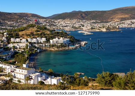 Bodrum, Turkey - view of the end of the day - stock photo