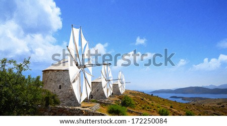 Bodrum Windmills oil painting from beautiful tourism city Bodrum - stock photo