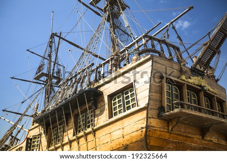 Body and mast of old sailing boat - stock photo