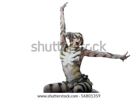 Body-art: White tigress. Studio shot.