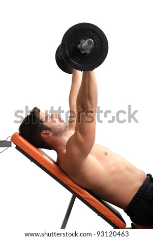 body builder exercise isolated on a white background - stock photo