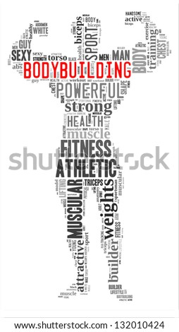 Body building info-text graphic and arrangement concept on white background (word cloud) - stock photo