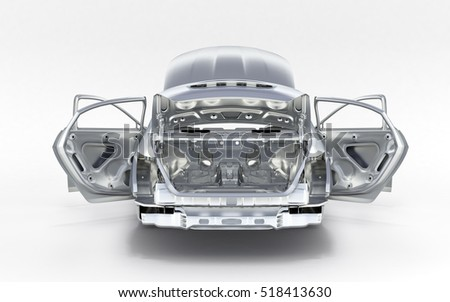 Top Xray Car On Black Background Stock Illustration