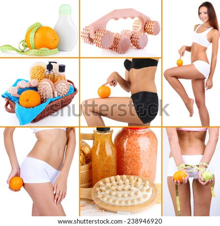 Body care collage. Healthy lifestyle concept - stock photo