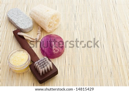 body care objects on bamboo board with copy-space