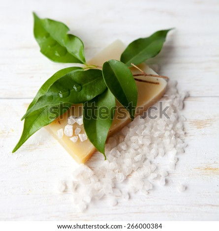 body care products or spa still life - stock photo