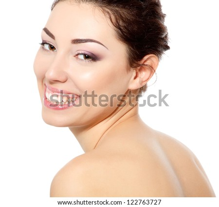 body care, young beautiful woman with clean skin happy smiling over white background