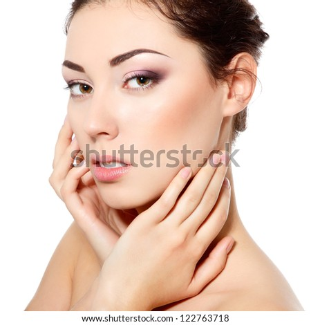 body care, young beautiful woman with clean skin over white background