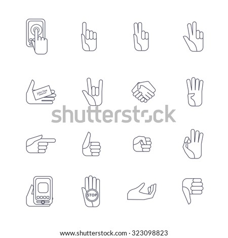 Body Language Hand Gestures Icons Collection Stock Illustration