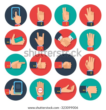 Body Language Hand Gestures Icons Tablet Stock Illustration