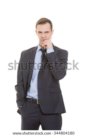 body language. man in business suit isolated on white background. negative thoughts, the index finger is directed vertically to  temple. - stock photo