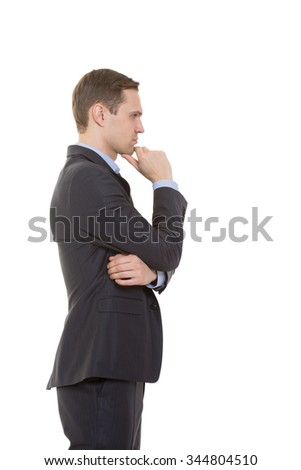 body language. man in business suit isolated on white background. stroking the chin. profile - stock photo