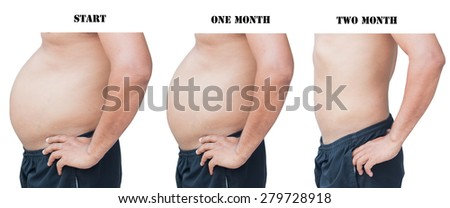 body man before and after fat loss 20 kilogram - stock photo