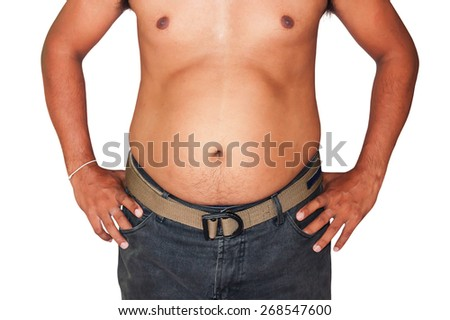body man fat - stock photo