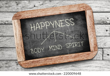 body, mind, spirit - Happyness concept , handwriting on vintage slate blackboard. (happiness intentionally spelled with a y) - stock photo