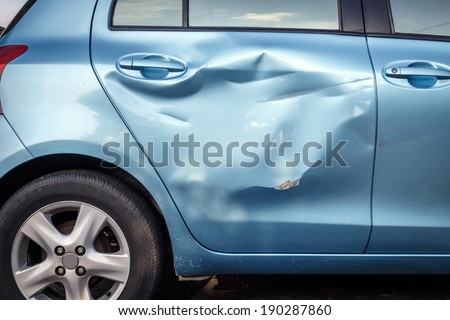 Body of car get damaged by accident - stock photo