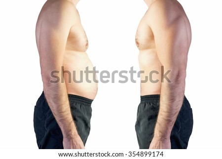 body of man between fat and thin  - stock photo