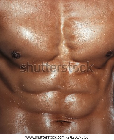 Body of muscular man. Vertical studio shot - stock photo