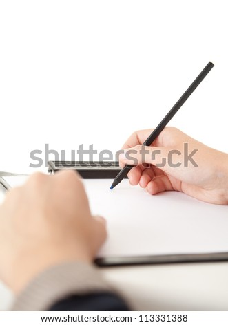 body part, hands of writing woman with clippboard and pen, white background - stock photo