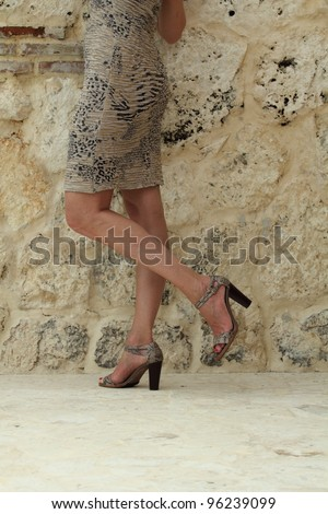 body part of a woman with expensive clothes posing over a rock wall