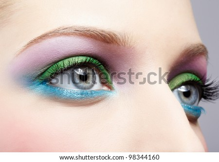 body part portrait of beautiful young woman eye shadow make up