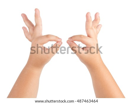 body parts concept - children hands showing ok sign isolated on white background