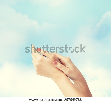 body parts, cosmetics and spa concept - close up of female soft skin hands - stock photo