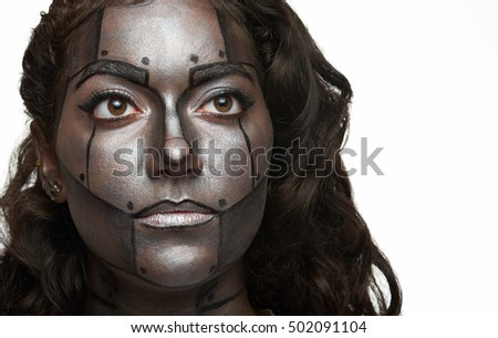 bodyart painted women face isolated on white background