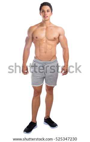 Bodybuilder bodybuilding muscles standing whole body portrait muscular man isolated on a white background