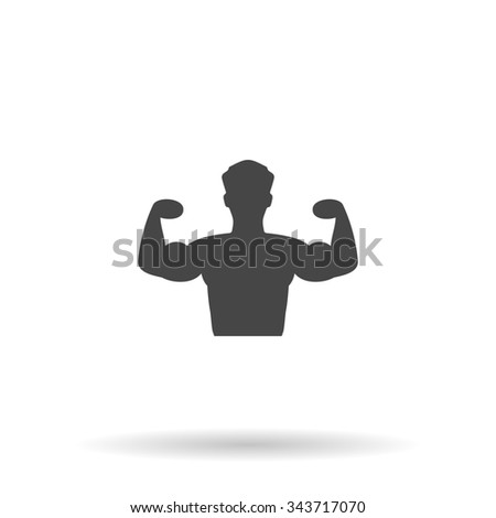Bodybuilder Fitness Model. Flat icon on grey background with shadow - stock photo