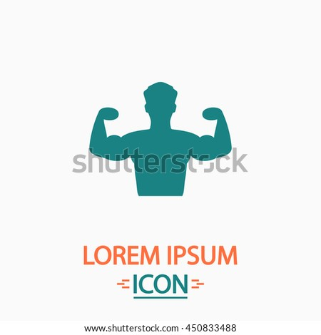 Bodybuilder Fitness Model. Flat icon on white background. Simple illustration - stock photo
