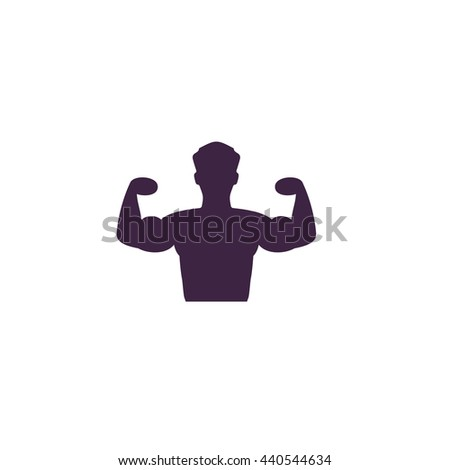 Bodybuilder Fitness Model. Simple blue icon on white background - stock photo