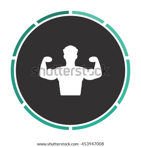 Bodybuilder Fitness Model. White circle button on black background - stock photo