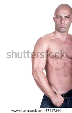 bodybuilder isolated on white background - stock photo