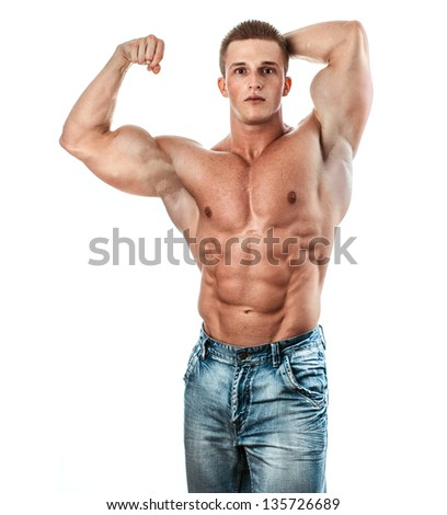 Bodybuilder isolated on white. Muscle man with perfectly biceps