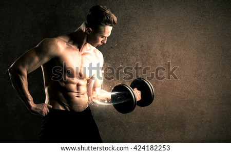 Bodybuilder lifting weight with energetic white lines concept on backround